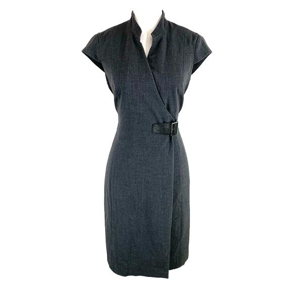 6b73cd4bd32e Calvin Klein Dresses & Skirts - Calvin Klein gray faux wrap buckle sheath  dress